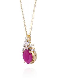 Belk & Co. Ruby & Oval Cut Diamond Pendant in 10K Yellow Gold