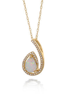 Belk & Co. Created Opal and Diamond Swirl Pendant in 10K Yellow Gold