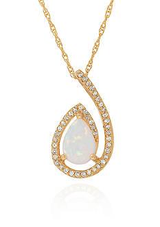 Belk & Co. Created Opal Pendant in 10k Yellow Gold