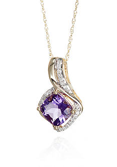 Belk & Co. Amethyst and Diamond Pendant in Sterling Silver