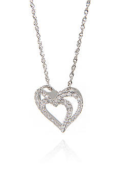 Belk & Co. 0.18 ct. t.w. Diamond Double Heart Pendant in 10k White Gold