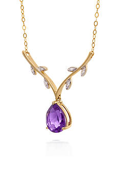 Belk & Co. Amethyst & Diamond with Leaves Necklace in 10K Yellow Gold