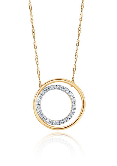 Belk & Co. 0.10 ct. t.w. Double Circle Diamond Pendant Necklace in 10K Yellow Gold