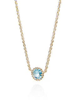 Belk & Co. Round Beaded Blue Topaz Necklace in 10k Yellow Gold