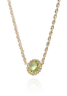 Belk & Co. Peridot Beaded Necklace in 10k Yellow Gold