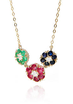 Belk & Co. Multi Precious Flower Necklace in 10K Yellow Gold