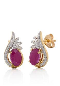 Belk & Co. Ruby and Diamond Oval Stud Earring in 10K Yellow Gold