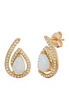 Belk & Co. Created Opal ad Diamond Stud Earrings in 10K Yellow Gold
