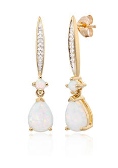 Belk & Co. Created Opal and Diamond Dangle Earring in 10K Yellow Gold