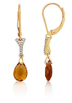 Belk & Co. Citrine and Diamond Drop Earrings in 10K Yellow Gold
