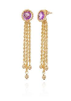 Belk & Co. Amethyst with Tassels Earrings in 10K Yellow Gold