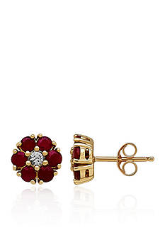 Belk & Co. Ruby and White Sapphire Stud Earrings in Yellow Gold