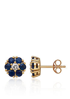 Belk & Co. Sapphire and White Sapphire Stud Earrings in 10K Yellow Gold