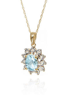 Belk & Co. Aquamarine and Diamond Oval Pendant in 10k Yellow Gold