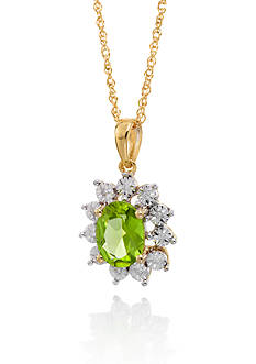 Belk & Co. Peridot and Diamond Oval Pendant in 10k Yellow Gold