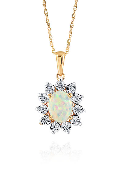 Belk & Co. Opal and Diamond Necklace in 10K Yellow Gold