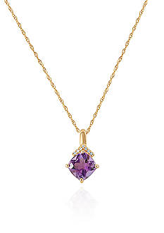 Belk & Co. Purple Amethyst & Diamond Pendant in 10K Yellow Gold