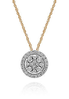 Belk & Co. 3/8 ct. t.w. Diamond Round Cluster Pendant in 10K Yellow Gold