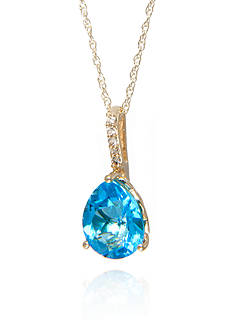 Belk & Co. Blue Topaz and Diamond Pendant in 10k Yellow Gold