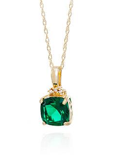 Belk & Co. Created Emerald & Diamond endant in 10K Yellow Gold