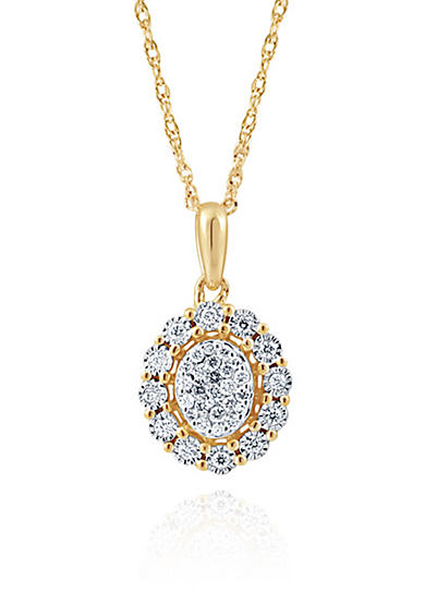 Belk & Co. 0.27 Diamond Necklace in 10K Yellow Gold