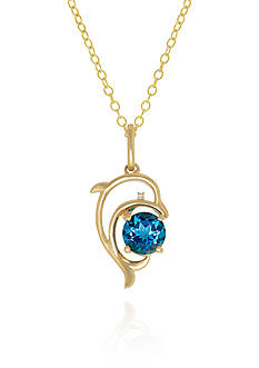 Belk & Co. Blue Topaz and Diamond Dolphin Pendant in 10k Yellow Gold