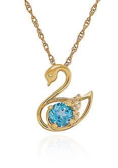 Belk & Co. Blue Topaz and Diamond Swan Pendant Necklace in 10k Yellow Gold