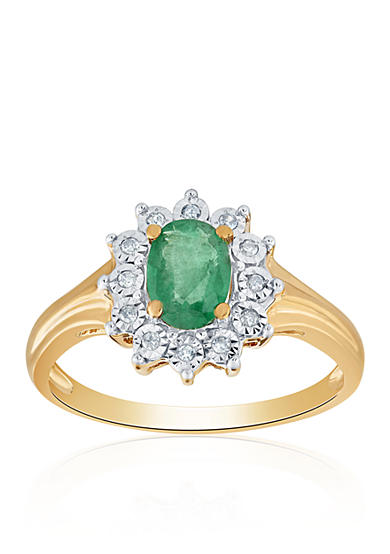Belk co emerald and diamond ring in 10k yellow gold belk for Belk fine jewelry rings