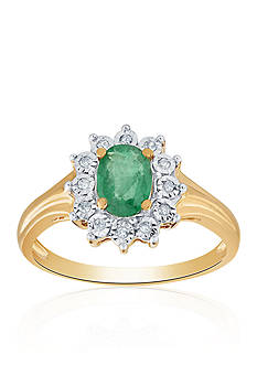 Belk & Co. Emerald and Diamond Ring in 10k Yellow Gold