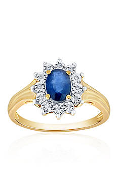 Belk & Co. Sapphire and Diamond Ring in 10k Yellow Gold