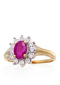 Belk & Co. Oval Ruby & Diamond Ring in 10K Yellow Gold