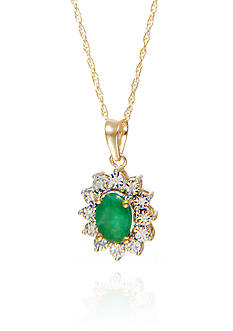 Belk & Co. Oval Emerald & Diamond Pendant in 10K Yellow Gold