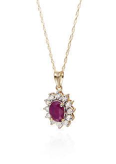 Belk & Co. Oval Ruby & Diamond Pendant in 10k Yellow Gold