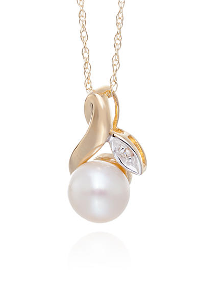 Belk & Co. Freshwater Pearl & Diamond Flower Pendant in 10K Yellow Gold
