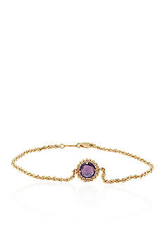 Belk & Co. Purple Amethyst Bracelet in 10K Yellow Gold