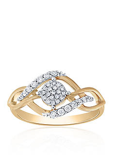 Belk & Co. 0.20 ct. t.w. Diamond Cluster Ring in 10K Yellow Gold