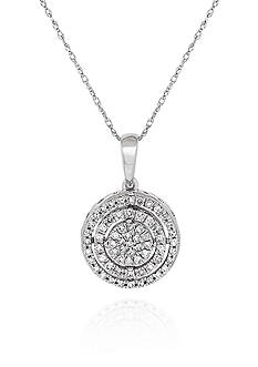 Belk & Co. 0.26 ct. t.w. Diamond Cluster Circle Pendant in 10K White Gold