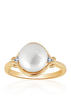 Belk & Co. Freshwater Pearl and Diamond Ring in 10K Yellow Gold