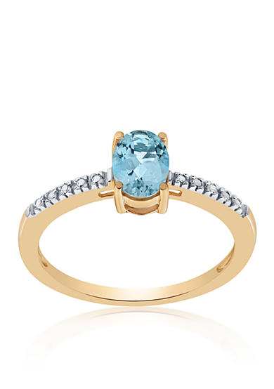 Belk & Co. Aquamarine & Diamond Ring in 10K Yellow Gold