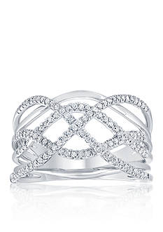 Belk & Co. 1/3 ct. t.w. Diamond Criss Cross Band Ring in 10k White Gold