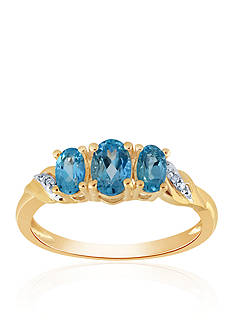 Belk & Co. Blue Topaz and Diamond Ring in 10k Yellow Gold