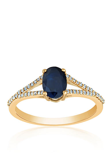 Belk co sapphire diamond ring in 10k yellow gold belk for Belk fine jewelry rings