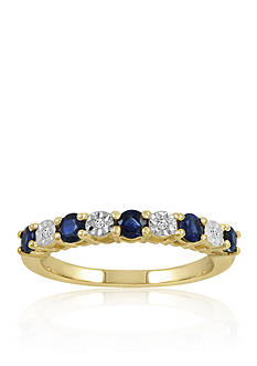 Belk & Co. Diamond & Sapphire Band Ring in 10K Yellow Gold
