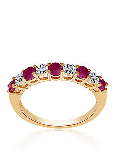 Belk & Co. Ruby & Diamond Band in 10K Yellow Gold
