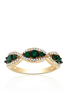 Belk & Co. Emerald and Diamond Band Ring in 10k Yellow Gold