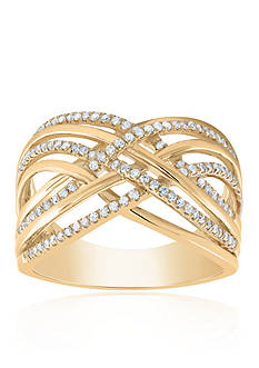 Belk & Co. 0.34 ct. t.w. Diamond Criss Cross Band Ring in 10K Yellow Gold