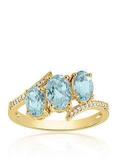 Belk & Co. Aquamarine Ring in 10k Yellow Gold