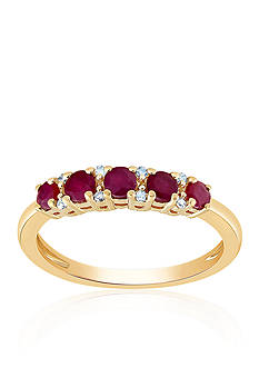 Belk & Co. Ruby Band Ring in 10K Yellow Gold