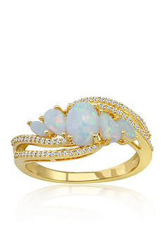Belk & Co. Created Opal & Diamond Ring in 10K Yellow Gold