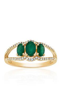 Belk & Co. Emerald & Diamond Ring in 10K Yellow Gold